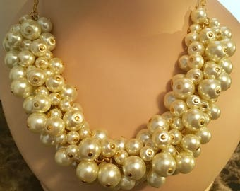Ivory Pearl Gold Statement Necklace