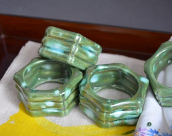 Set of 4 Vintage Napkin Rings Napkin Holder Table Display Christmas Table Decor Holiday Decor  Blue Green Collection Wedding Mid Century