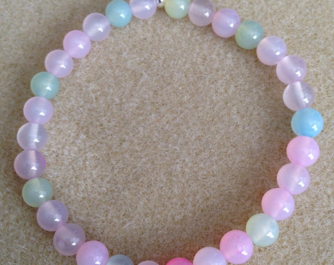Pink Pastel Mix Agate 6mm Stretch Bead Bracelet with Sterling Silver Accent