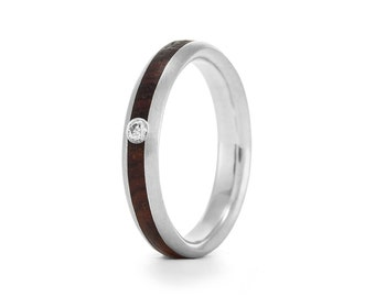 Native Oval Moissanite, wood engagement ring UK
