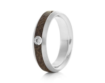 Native Mid Oval Moissanite - wood engagement ring UK