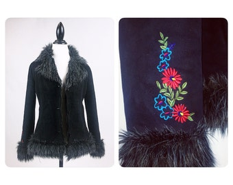 90's Embroidered Daisy Faux Fur Mongolian Shaggy Trim and Lined Black Coat // M