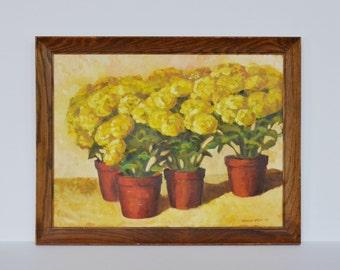 Vintage Botanical Oil Painting Impressionist Flowers 1960s 1970s