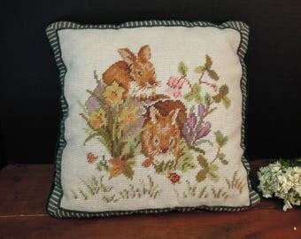 Vintage Wool Needlepoint Rabbit / Bunnies in the Garden and Velvet Pillow