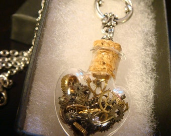 Steampunk Heart Vial Necklace- Made with Gears and Watch Parts (2250)