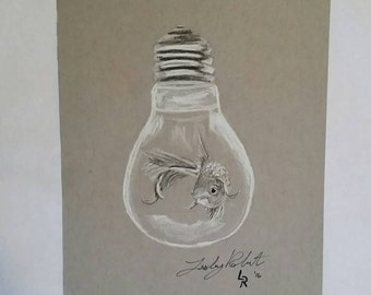 "Original Fish in Light bulb Charcoal Drawing 5.5""x8.5"" / fantasy drawing / goldfish"