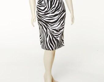 Straight Skirt Zebra Print Mate Jersey 4 Lengths Sizes 2-28
