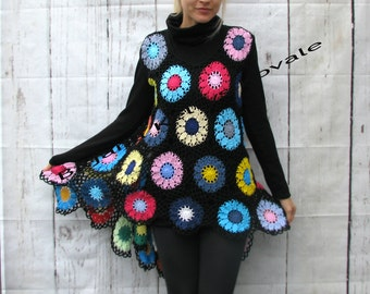 Colorful high-low  tunic/vest is a piece you'll truly enjoy wearing S/M/L
