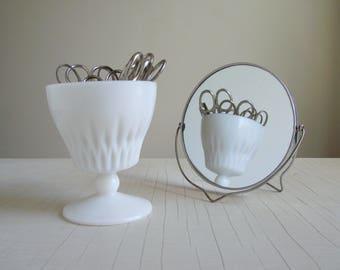 Magnifying Vanity Mirror , Swivel Make-up Shaving Mirror , Vintage Table Top Mirror on Folding Metal Stand , Retro Bathroom Decor