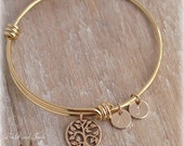 Gold Tree of Life Bracelet, Family Tree Bracelet, Tree of Life Bangle, Initial Bangle Bracelet, Choose Discs#/Font/Initial,Mothers/Valentine