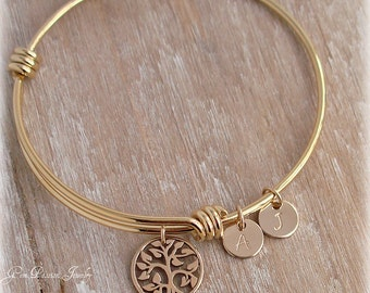 Family Tree Gold Bangle Personalized Mothers Bracelet, Custom Hand Stamped, Custom Initials, Tree of Life, Gold Bracelet, Gift for her