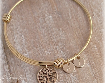 Gold Tree of Life Bracelet, Family Tree Bracelet, Tree of Life Bangle, Initial Bangle Bracelet, Choose Discs#/Font/Initial, Mothers Day Gift