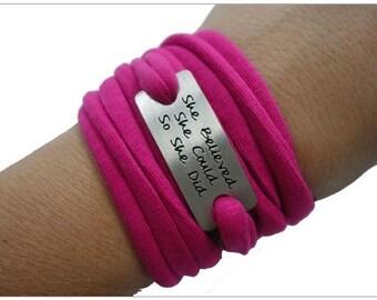 Running Bracelet, Sweat away Bracelet, sport bracelet - She believed she could so she did.