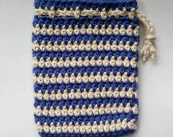 Small Blueberry Cream Crocheted Drawstring Pouch - Ready to Ship
