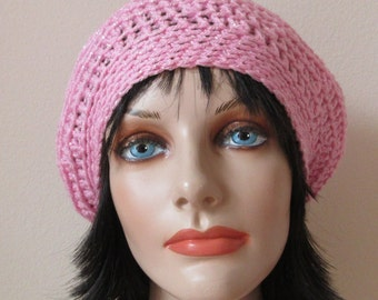 Pink Slouchy Hat Pink Slouch Hat Cold Weather Accessory Pink Sparkle Slouchy Hat