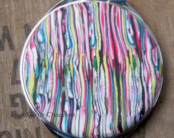 Hand made compact mirror, Colorful Striped Compact Mirror, Every color compact, Compact of many colors,