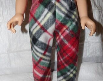 Fleece leggings in red, white & black plaid for 18 inch dolls - ag286