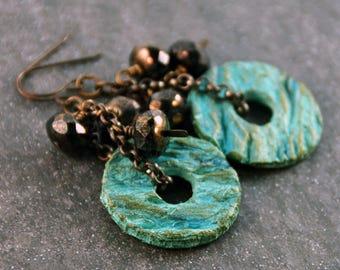 Bohemian Rustic Teal Ceramic Beads Czech Glass Beads Antique Brass Earrings