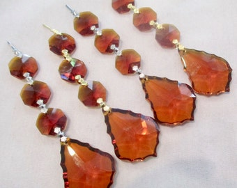 4 AMBER Crystal Prisms - 38mm 2 Part AMBER Chandelier Crystal ...