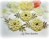 French Vanilla and Gold Paper Flowers and Paper Embellishments for Scrapbook Layouts Cards Tags Mini Albums Altered Art and Paper Crafts