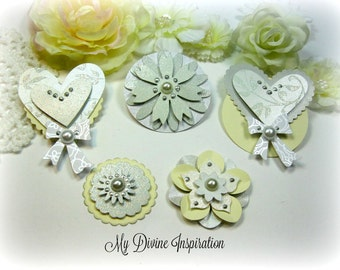 Ivory, White, Gray Wedding Scrapbook Paper Embellishments and Paper Flowers for Scrapbooking Mini Albums Cards Tags Papercrafts