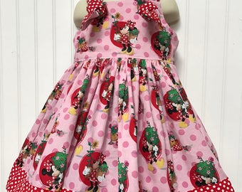 Minnie Mouse Red Pink Flower Boutique Dress Size 2T 3T 4T 5 6 NEW