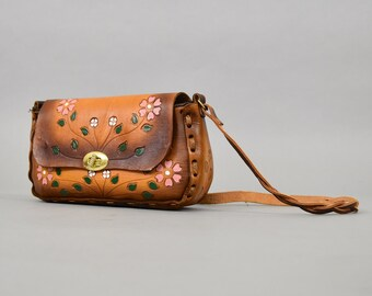 70's Hand Painted LEATHER Shoulder Bag