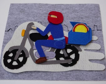 Pizza Delivery On A Motorcycle- Quiet Book Page /   Toddler Busy Book / Gift for Kid / Felt Book / Quiet Book Toy / Travel Toy  / Cloth Book