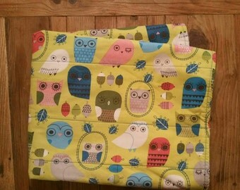 REadY To ShIP. MoDErN Baby Girl Quilted Blanket. Robert Kaufman Owls with White Striped SuPEr SoFT Minky. Handmade Blanket. Owls