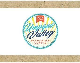Custom Logo Design - PreDesigned Logo PreMade Logo Vector Logo - OOAK Logo - UMPQUA VALLEY Logo Branding - Wave Logo - Sun Logo - Surf Logo