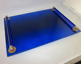 Lovely Vintage Cobalt Blue Footed Dresser Tray, Estate Item, Décor, Moonwind