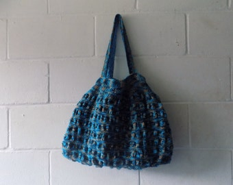 Blue and Grey Hand Knitted Tote Bag, Multi Coloured Handbag