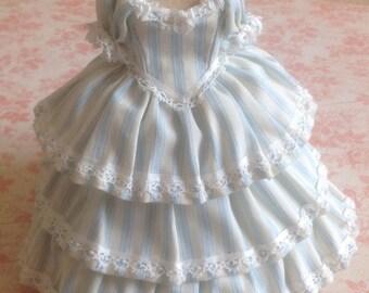 Handmade beautiful 1/12th miniature dollhouse blue striped tiered dress