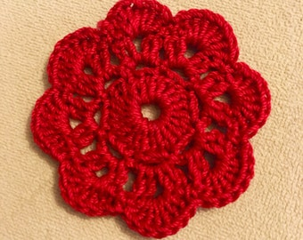 Set of 5 crochet flower appliques Red Valentines Wedding Christmas Decoration Embellishment
