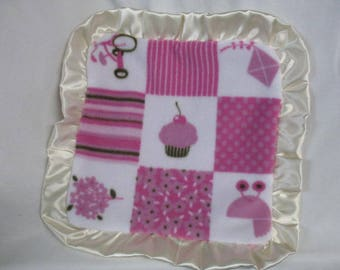 Cupcake / Kite / Tr- cycle  Fleece  Lovey /  Baby Lovie / Sensory / Hot Pink Minky Dot  Blanket