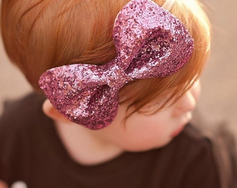 X- Large Pink Glitter Bowtie, Glitter Clip, Alligstor Clip, Sister Bows, Gold Bow, Rose Gold Bow, Pink Bow, Black Bow, Baby Glitter Bow