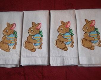 Easter Napkins, Appliqued Easter Napkins, Easter Bunny Napkins, Set of 4 Easter Bunny Napkins, Easter Table Decor, Fabric Easter Napkins