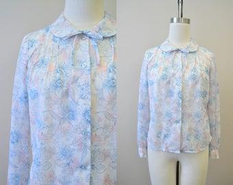1970s Floral Pastel Blouse