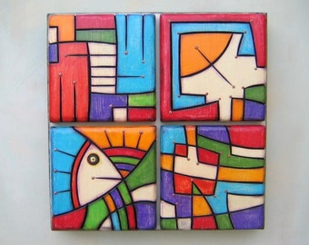 Block Party, Original Wood Wall Sculpture, Wood Carving, Abstract Sculpture, Painting on Wood, Wall Decor, by Fig Jam Studio
