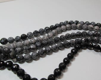 10mm Sale Bead Lot Supplies Strands 16 inch Blacks and Grays 5 Faceted Strands Destash