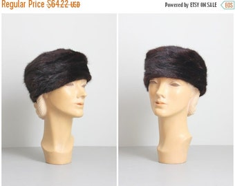 3 DAY SALE 1950s chestnut brown mink fur hat - vintage 50s mink hat / winter fur pillbox hat - 1950s fur hat / winter hat - vintage glamour