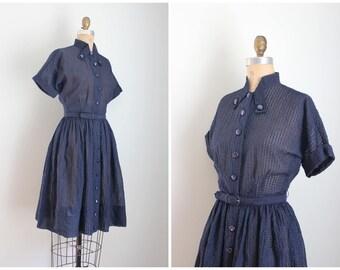 50s navy blue plisse dress - vintage 1950s day dress / 50s short sleeve dress - sheer plisse dress / 1950s full skirt shirtwaist dress