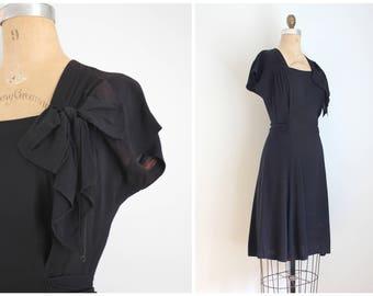 vintage 1940s black rayon crepe dress - little black dress / short sleeve black dress - 40s dress / rayon crepe dress - 40s costume