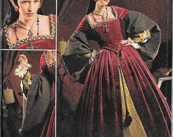 Simplicity 2589 Tudor Gown Dress and French Hood Costume Sewing Pattern Size 8, 10, 12, 14, 16 UNCUT Renaissance LOTR SCA