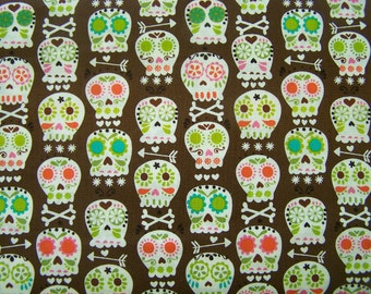 Michael Miller Sugar Skull Bonehead Fabric 100% Cotton CX4425-Coco-D by the Yard