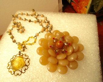 Light Taupe JADE Multi-Layered Flower w/TOPAZ Swarovski Crystals Pendant on Vintage CZECH Rosary Chain w/Citrine & Czech Glass Clasp