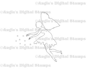 Fairy Sprinkling Stardust Digital Stamp Image