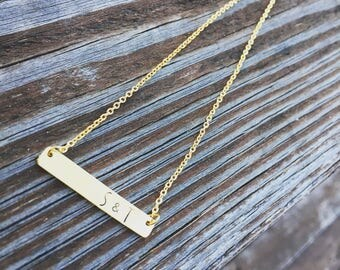 Dainty Gold or Silver or Rose Gold  Bar Necklace- Your Choice of Metal Custom Handstamped Bar Necklace - Customized Initial Necklace - Hands