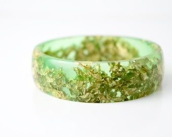 lime green multifaceted eco resin bangle with metallic gold flakes