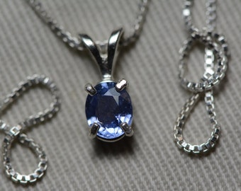 Sapphire Necklace, Blue Sapphire Pendant 0.70 Carat Appraised at 600.00, September Birthstone, Natural Sapphire Jewelry, Oval Cut